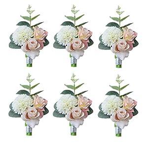 "Pauwer 9.5"" Artificial Peony Rose Flower Handmade Silk Wedding Bridal Bridesmaid Bouquets 50"
