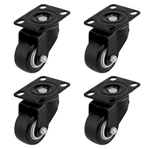 ULIFESTAR 4 Pack Swivel Caster Wheels Polyurethane PU Rubber No Noise Wheels with 360 Degree Top Plate & Strong Bearing Total 400lbs Heavy Duty Locking Casters 2 with Brakes & 2 without (1.5'')