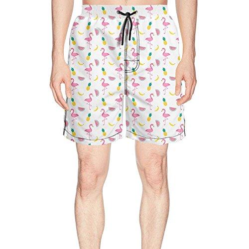 Blumed Kittoes Men's Summer Pineapple Flamingo and Watermelon Quick Dry Beach Shorts Swim ()