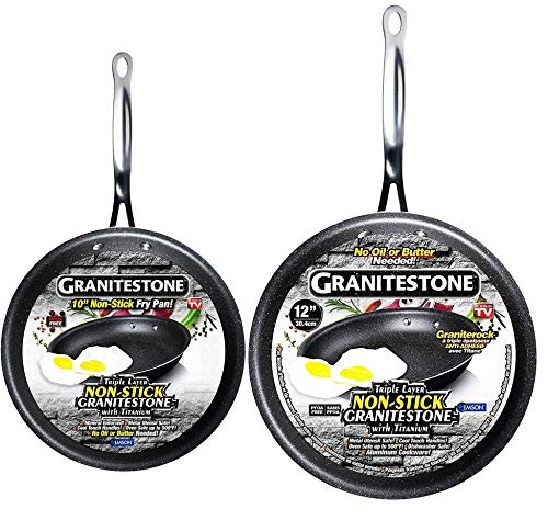GRANITESTONE 10 inch and 12 inch Nonstick, No-warp, Mineral-enforced Frying Pan with Stay-Cool Handles, with Granite…