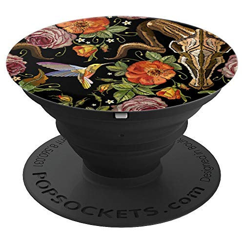 Ever Pretty Faux Embroidery Steer Head Skull Floral And Bird - PopSockets Grip and Stand for Phones and Tablets