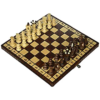 Folding Chess Board Set - Hand Crafted Royal 30 European Wooden Handmade International SetGame Board with Wooden Pieces - 12 Inch Board Folds in Half for Easy Storage.
