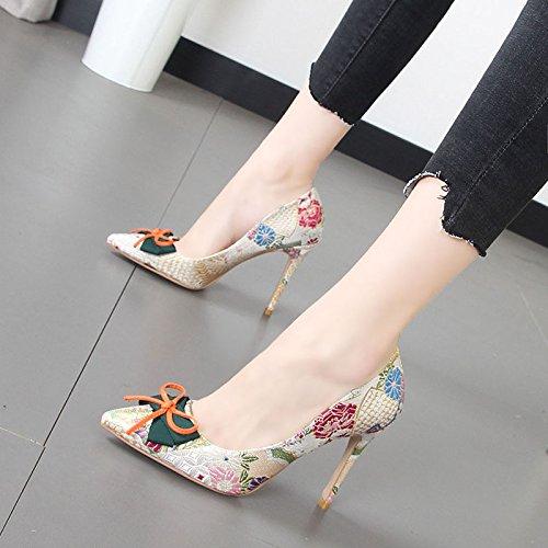 Xue Qiqi Brautschuhe Hochzeit Schuhe Frauen Hintern - Farbe Bow Beige Tie feine Schuhe mit hohen Absätzen Beige Bow 29eff9
