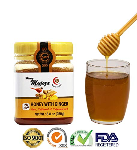 (MUJEZA Honey with Fresh Ginger Juice, Unheated Unfiltered Unprocessed 100% Natural Raw Honey (SAVE Almost $10 WHEN YOU BUY THE BIGGER SIZE) (Different Sizes Available) (250g /17.6oz))