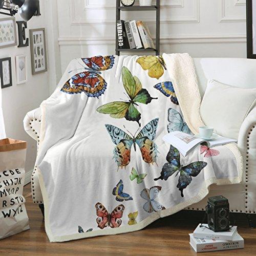 (Sleepwish Butterfly Blanket Home Throw Blanket Sherpa Flannel Fleece Reversible Blankets Girls Hippie Blanket (50 x 60 Inch))