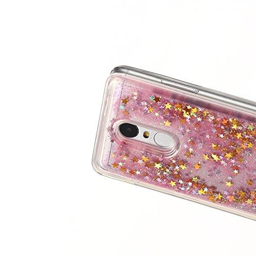 Funda Xiaomi Redmi Note 3, Carcasa Xiaomi Redmi Note 3 Pro, Caselover 3D Bling Silicona TPU Arena Movediza Lentejuelas Carcasa para Redmi Note 3 / Note 3 Pro Glitter Líquido Brillar Cristal Sparkle Pr Rosa y oro
