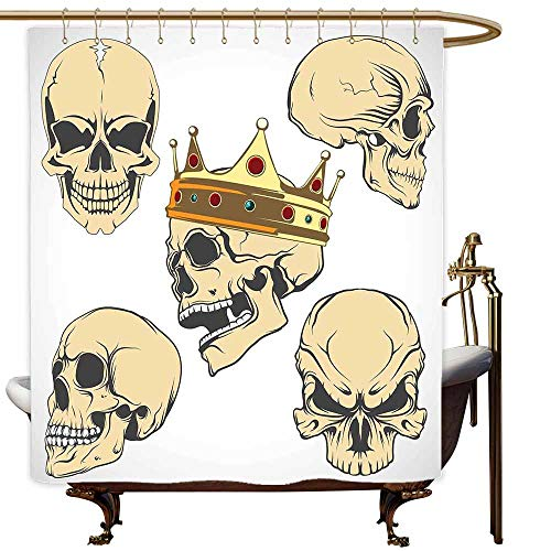 SKDSArts Shower Curtains Rose Gold Skull,Skulls Different Expressions Evil Face Crowned Death Monster Halloween Print,Sand Brown Yellow,W69 x L72,Shower Curtain for Shower stall ()