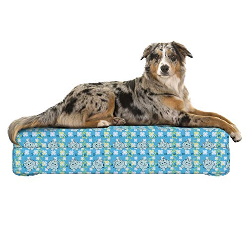 Lunarable Yellow and Blue Dog Bed, Funny Cartoon Hippopotamus with Stars and Cute Daisy Flowers, Dog Pillow with High Resilience Visco Foam for Pets, 32