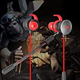 Gaming Earbuds with Dual Mic, Zahara Stereo E-Sports Earphone Bass in-Ear Headphones Noise Cancelling Headset 3.5 MM Supports for Nintendo Switch, Xbox One, PS4, PC Laptop and Smart Phones (Red)