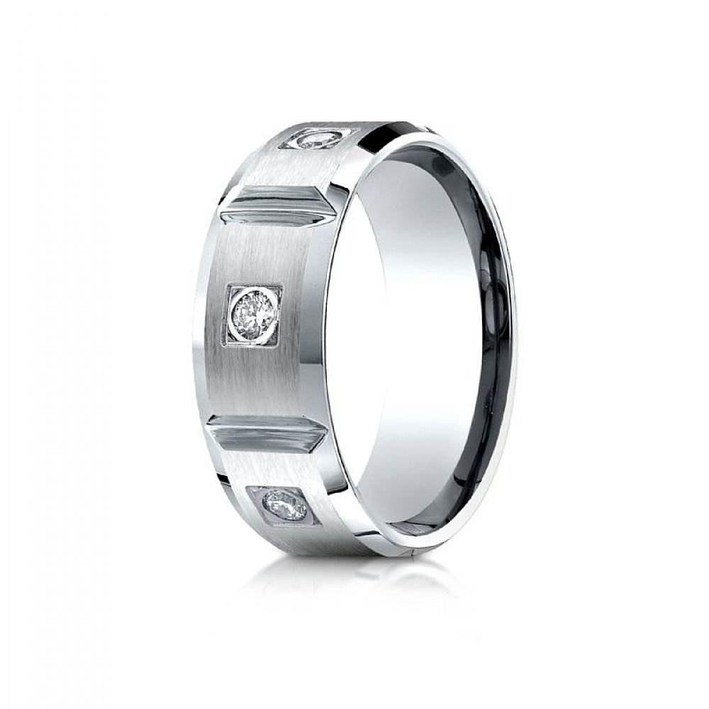 18k White Gold 8mm Comfort-Fit Burnish Set 6-Stone Diamond Eternity Ring (.50ct) - Size 12