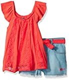 kensie Big Girls' Fashion Top and Short Set, Daisy Eyelet Neon Red, 8