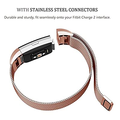 Sunshine Fitbit Charge 2 Band Metal, Milanese Loop Stainless Steel Metal Bracelet Strap with Unique Magnet Lock, Needed for Fitbit Charge 2 HR Fitness Tracker