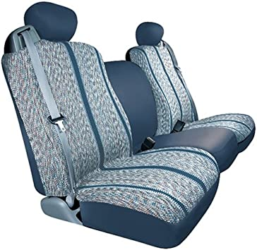 Blue Saddleman Universal Front Bench Seat Cover Saddle Blanket Fabric