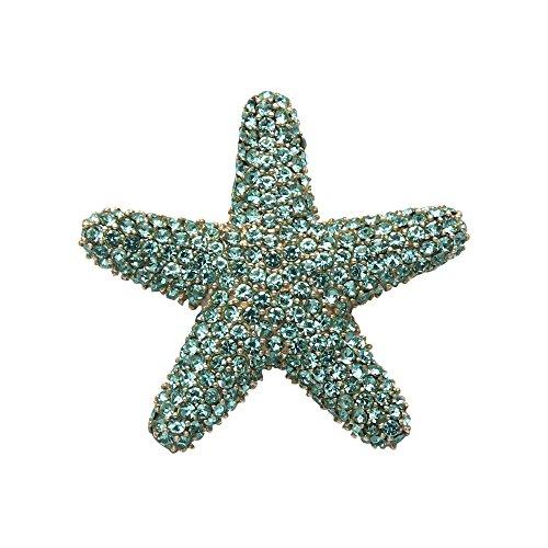 Wild Things Sterling Silver Starfish Pin w/Aqua Crystal Stones
