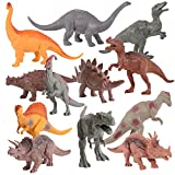 "Kangaroo s Realistic 7"" Dinosaurs (Set of 12) Jumbo PVC Assorted Dinosaur Toys with Play Mat & Educational Full Color Dinosaur Book"
