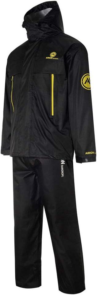 Black, Set Womens Airon raindrops-W01-L Waterproof Motorcycle Rain Suit Sets Mens