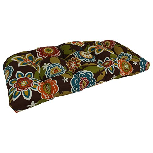 Blazing Needles U-Shaped Patterned Spun Polyester Tufted Settee/Bench Cushion, 42