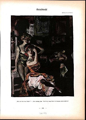 Beautiful Women Fixing Hair Sewing Night Club Cabaret 1903 antique color print