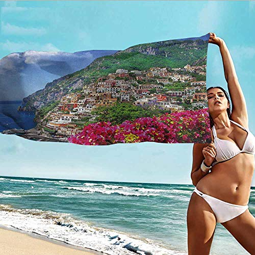 "Beach Towel Italy,Scenic View of Positano Amalfi Naples Blooming Flowers Coastal Village Image,Pink Green Blue,Suitable for Home,Travel,Swimming Use 32""x63""inch"