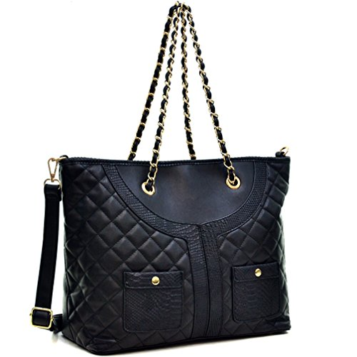 DASEIN Women's Quilted Designer Shoulder Bags Snake Skin Tote Bags Chain Crossbody Handbags Work Purses - Designer Quilted Handbags