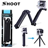 Three 3-Way Handheld Selfie Stick Foldable Extendable Grip Arm Mount Holder Monopod for GoPro Hero Cameras 6 5 5 Session 4 Session 4 3+ 3 2 1 and Action Cameras with Long Handle Screw