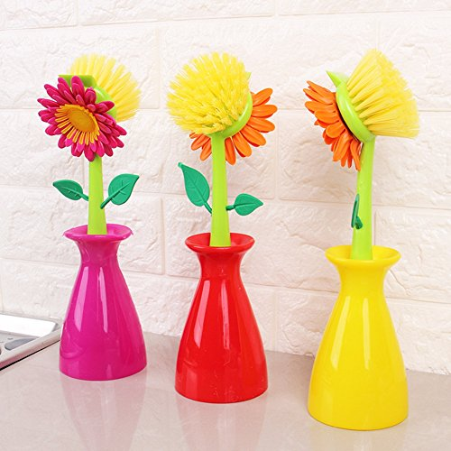 Tableware Vases (3 Pcs Multi-functional Sunflower Vase Cleaning Tools Strong Decontamination Dishwashing Brushes for Dish Pot Sink Tableware Cutlery Wall Car Kitchen Accessories Pink Red Yellow)