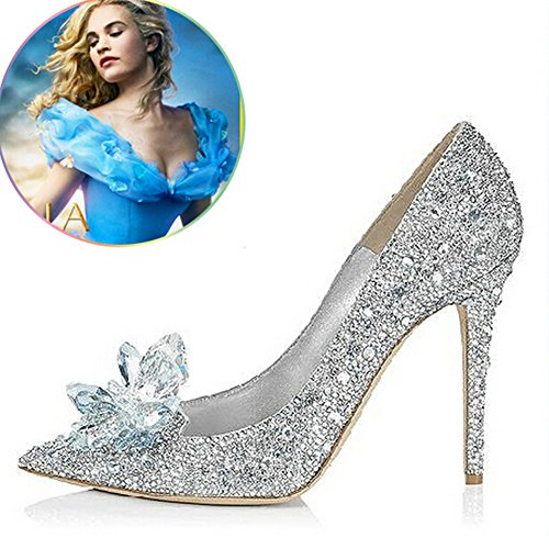 Cinderella Movie 2015 The Glass Slipper Princess Crystal Shoes Wedding Shoes Adult Size