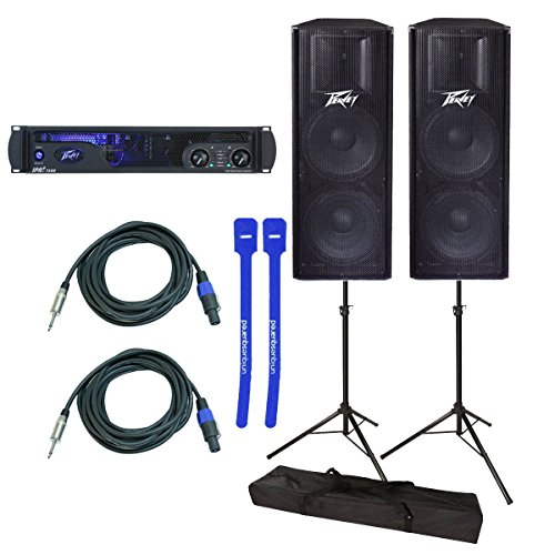 Peavey IPR2 7500 Power Amplifier w/ Peavey PV 215 Loudspeaker Pair, Stands, Cables & Cable Ties