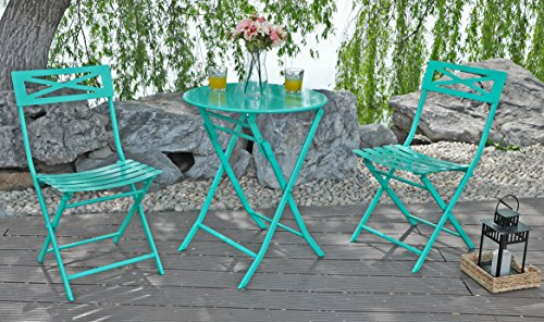 Cheap  Captiva Designs 3 Pcs Outdoor Patio Stable Steel Bistro Folding Table and..