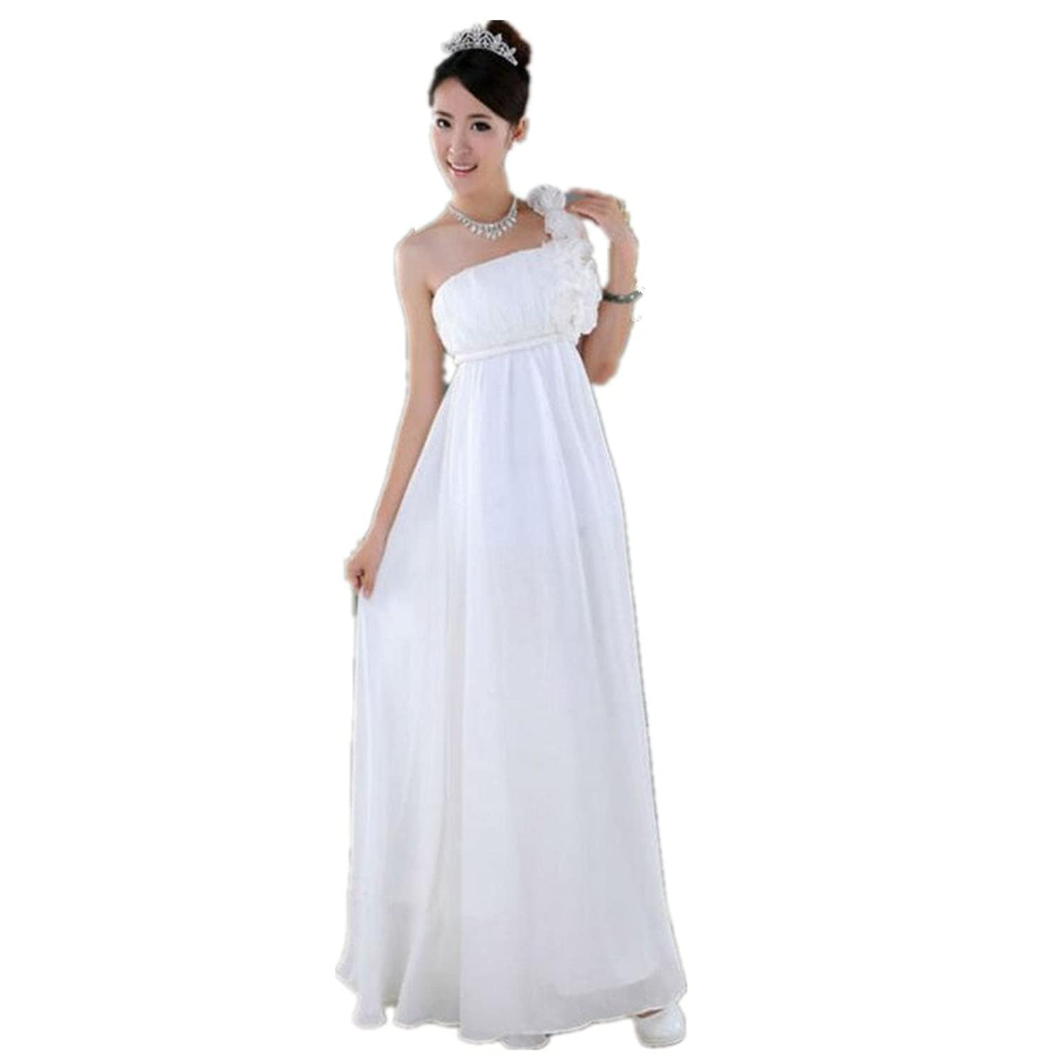 Oyvind Norberg Womens One Shoulder Ruched Padded Long Evening Dress