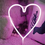 YiiY Neon Light Signs Pink Heart Decor Light,Wall Decor for Christmas,Kids Room,Wedding Party Decor, Bedroom, Pub,Valentine's Day