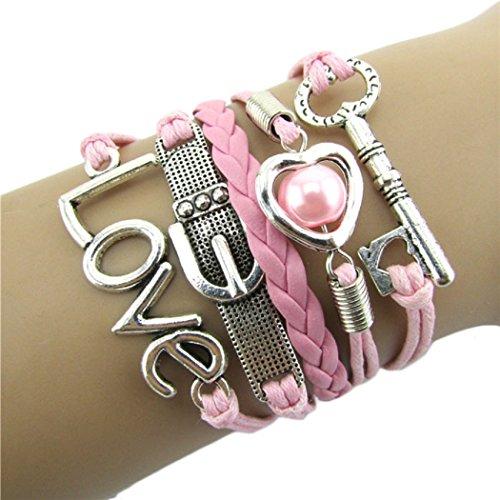Doinshop New Useful Cute Nice Fashion Infinity Heart Pearl Love Key Leather Alloy Charm Bracelet Pink (Infinity Bracelet Cheap)