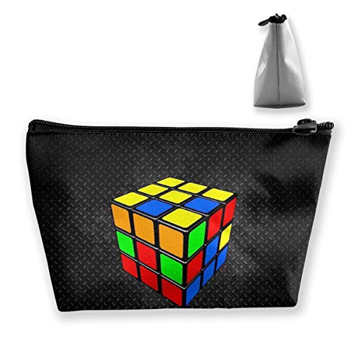 Colorful Cube Rubik Black Storage Bag Pouch Portable Gift for Girls Women Large Capacity Cosmetic Train Case for Makeup Brushes Jewelry Casual Travel Bag