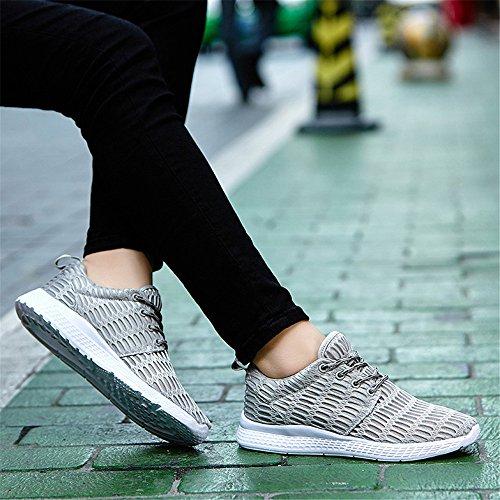 BEFAiR Atmungsaktives Mesh Leichte Laufschuhe Casual Lace-Up Sneakers Männer Grau