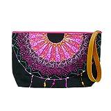 Taruron Clutch Bag, Cosmetic Bag Printed Nylon Inner on Canvas Top Zipper (V1)
