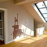 GECKOO Safari Animal Vinyl Elephant Decor Rhino Decor Owl Wall Sticker Giraffe Decals Boy Girl Room Wall Art (X-Large,Brown)