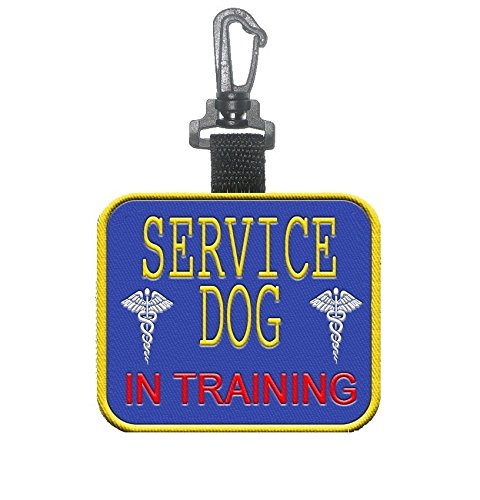 - WORKINGSERVICEDOG.COM Service Dog- in Training Clip on Identification Hanging Patch Tag - Clips onto a Service Dog Vest, Harness, Collar, Leash or Carrier.