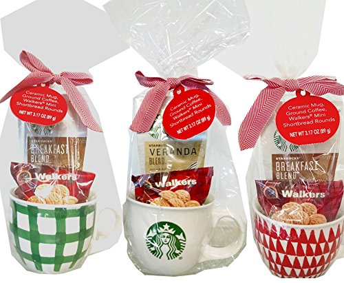Starbucks Mug (14-ounce) Filled with Veranda Coffee and Walkers Shortbread Cookies Gift (1 mug, design varies)