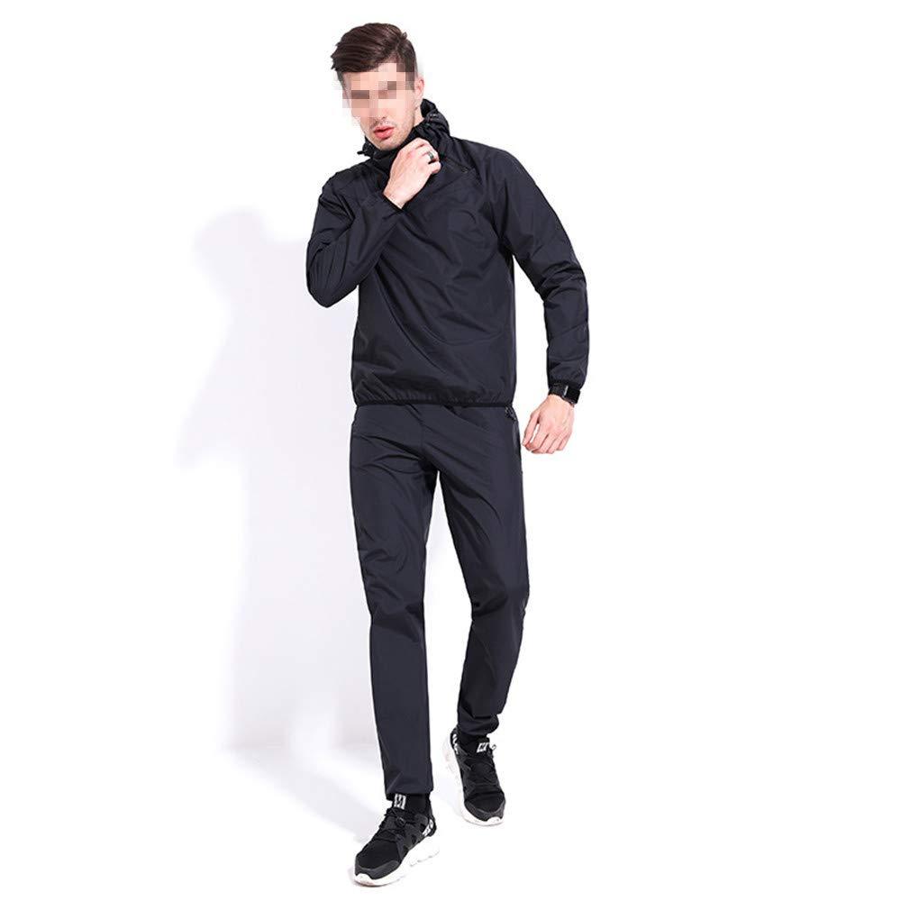 Chengzuoqing Männer Anzug Workout Schweiß Anzug Gewichtsverlust Abnehmen Fitness Gym Übung (Farbe   schwarz, Größe   3XL)