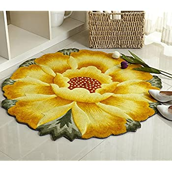 Luk Oil Sunflower Round Rug Mats Flowers Round Rugs Yellow Flowers Round  The Bedroom Carpet 35.43 Inch By 35.43 Inch (Yellow)