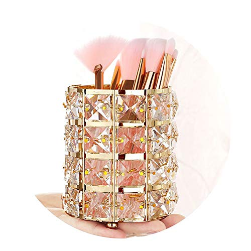 (Pahdecor Handcrafted Crystal Rotating Makeup Brush Holder Eyebrow Pencil Pen Cup Collection Cosmetic Storage Organizer Vanity,Bathroom,Bedroom,Office Desk (Gold))