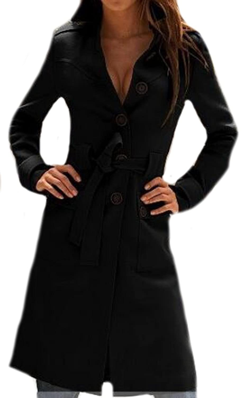 XQS Women Fashion Fitted Waist Single Breasted Bandage Coats