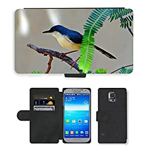 PU LEATHER case coque housse smartphone Flip bag Cover protection // M00110119 Ashy Ashy Prinia Wren curruca // Samsung Galaxy S5 S V SV i9600 (Not Fits S5 ACTIVE)