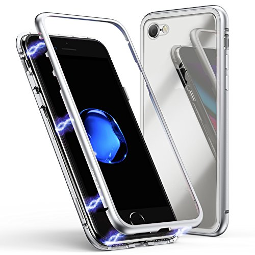 iPhone 8 Case,iPhone 7 Case, ZHIKE Magnetic Adsorption Case Metal Frame Tempered Glass Back with Built-in Magnet Cover for Apple iPhone 7/8 (Clear White)