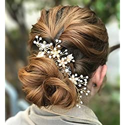 SWEETV Gold Wedding Hair Comb Clip for Brides - Jewelry Headpiece Crystal and Pearl Bridal Hair Accessories for Women