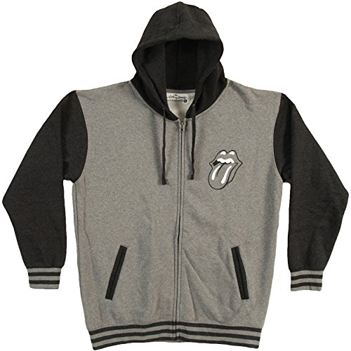 Rolling Stones Tongue Logo Varsity Sweatshirt Zip-Up Hoodie - Grey (X-Large) by Rolling Stones