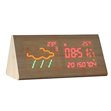 Beautygoods Estación meteorológica inalámbrica Inteligente innovadora Pronóstico Reloj Digital WiFi Reloj de Cama Luminosa con Pantalla LED Luz cambiante de ...