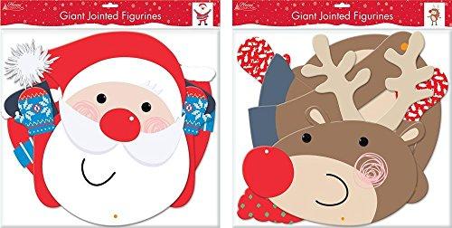 - Santa & Reindeer Card Jointed Christmas Decoration
