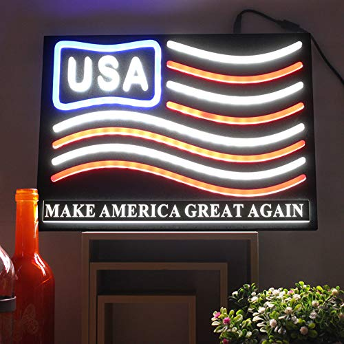 LED Neon Signs Bar Lights American Flag USA Sign Neon Bar Signs Decirations for Home Store Window Decorative Party Restaurants Wall Light