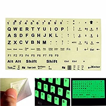 Moppi Inglés nous teclado pegatina fluorescente grandes letras negras para ordenador portátil: Amazon.es: Informática